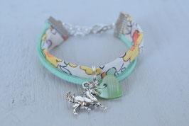 Bracelet enfant fillette tissu betsy jaune breloque cheval  - idée cadeau anniversaire noël