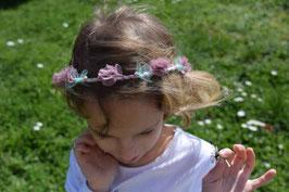 Couronne de fleurs rose-vert enfant pour mariage, baptême, communion demoiselle d'honneur/ Couronne fleurs tissu liberty rose fait-main