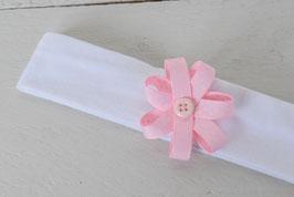 Bandeau bébé couture fleur en ruban rose à pois blanc