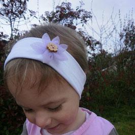 bandeau bébé fille petite fleur Hawaï parme