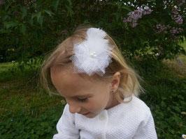 Barrette Fleur Tulle & plume blanche baptême mariage