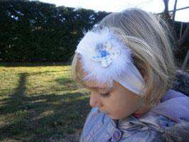Bandeau bébé noël fleur bleue fourrure blanche