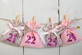 Calendrier de l'avent Noël réutilisable - tissu liberty Eloïse et lin rose - chiffres paillettes