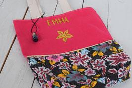 tote bag prénom rose fuchsia fleurs des Iles/ cabas fille / sac bibliothèque ou sport enfant cadeau anniversaire, noël