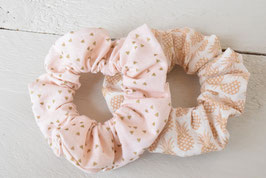 Chouchou cheveux en tissu - Lot de 2 : ananas + rose poudré à triangle doré