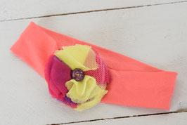 Bandeau bébé headband corail fleur jaune et rose fushia strass violet
