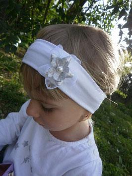 bandeau bébé baptême  petite fleur organza blanc/argenté