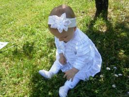 bandeau bébé fleur pour baptême création fait-main bandeau blanc