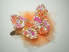 Barrette enfant femme pince cheveux accessoire cheveux papillon tissu liberty tulle corail
