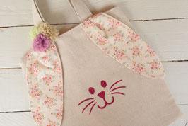 Petit sac enfant personnalisé pour chasse oeufs Pâques/ Oreille Lapin en tissu style Liberty Rose romantique / Sac prénom doré