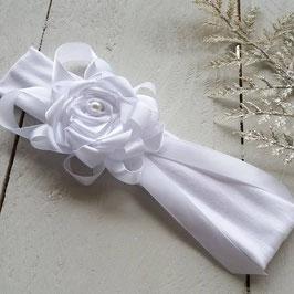 Bandeau bébé baptême fille fleur blanche pour baptême mariage cérémonie fleur ruban cérémonie mariage