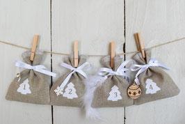 Calendrier de l'avent Noël 2021-A/ 24 sachets en tissu à remplir & réutilisable / Création artisanale en tissu lin bois rustique champêtre Blanc