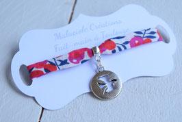 Bracelet liberty whiltsire rouge médaillon colombe pour baptême, communion, confirmation