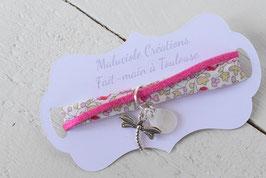 Bracelet enfant liberty katie and millie rose fuchsia breloque libellule et goutte nacrée - idée cadeau anniversaire noël