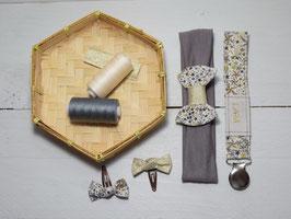 Ensemble cadeau naissance bébé fille tissu liberty adelajda doré bandeau + attache tétine prénom + 2 minis barrettes