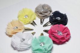 Barrette fleur mousseline  baptême, cérémonie, mariage enfant, bébé, femme, maman, grande soeur fleur paillette bleu menthe écru jaune gris rose poudrée