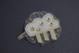 Barrette baptême nuage blanc doré baptême pince clic-clac pour petite fille