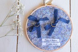 Tambour porte alliance personnalisé en tissu Liberty bleu mariage champêtre vintage bohème