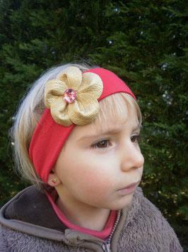 Bandeau bébé rouge fleur similicuir doré avec strass
