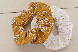 Chouchou cheveux en tissu - Lot de 2 : liberty capel moutarde + blanc triangle doré