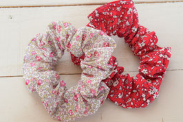 Chouchou cheveux en tissu - Lot de 2 : liberty rouge + liberty Eloïse rose