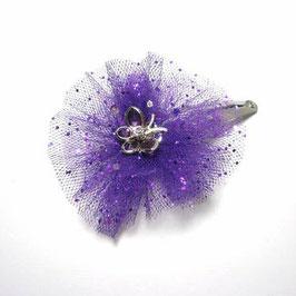 Barrette baptême pour petite fille et bébé fleur tulle violet paillette papillon strass