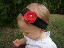Bandeau bébé fleur feutrine rouge