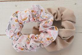 Chouchou cheveux en tissu - Lot de 2 : suédine beige + liberty rose et gris