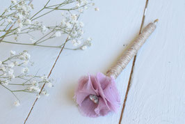 Stylo livre d'or pour mariage baptême thème champêtre fleur rose poudrée & strass
