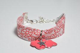Bracelet enfant fillette tissu fleurs liberty corail blanc breloque nuage étoile idée cadeau anniversaire noël bijou artisanal enfant