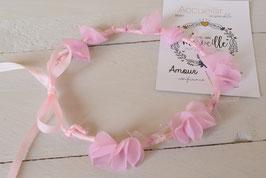 Couronne de fleurs rose enfant pour mariage, baptême, communion, demoiselle d'honneur/ Couronne fleurs rose fait-main