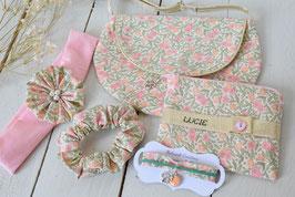 Cadeau fille Liberty Rose/vert/doré vintage pour anniversaire noël- Ensemble sac à main, bracelet enfant, chouchou, bandeau, porte monnaie broderie prénom