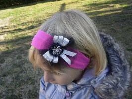 Bandeau papillon strass, noir,argenté, bandeau cheveux bébé petite fille fuchsia cérémonie, fêtes, anniversaire...