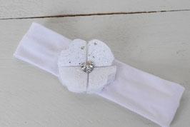Bandeau bébé baptême fleur blanche en coeur strass et féérique