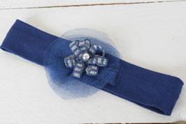 bandeau bébé fille bleu marine fleur gris argenté sur tulle marine