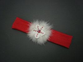 Bandeau cheveux bébé petite fille Noël rouge blanc boule fourrure plume
