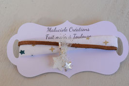 Bracelet enfant Noël - Tissu Ecru Etoile Or Bronze - Breloques étoiles