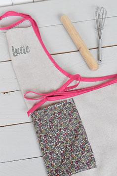 Tablier enfant lin-coton beige & Liberty à personnaliser prénom au choix