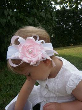 Bandeau bébé baptême fille blanc rose pour baptême mariage cérémonie fleur ruban cérémonie mariage