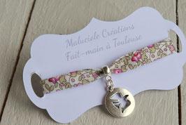 Bracelet liberty Eloïse rose  médaillon colombe argenté pour baptême, communion, confirmation