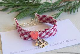 Bracelet enfant fille tissu vichy rouge noël breloque cadeau noël Idée cadeau anniversaire noël bijou artisanal fillette
