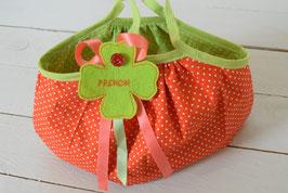 Petit sac Boule Citrouille enfant Halloween - Sac avec prénom- Orange à pois blanc