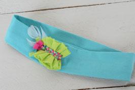 bandeau bébé bleu turquoise et frou-frou tresse indien plume