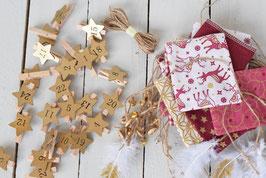 Calendrier de l'avent Noël réutilisable en tissu rouge-doré avec pince bois chiffre