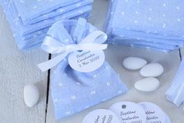 Sachet dragées plumetis bleu pour baptême, communion, mariage