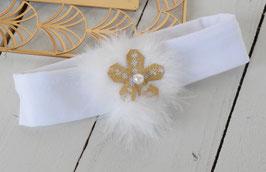 Bandeau bébé noël fourrure blanche fleur dorée