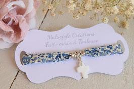 Bracelet liberty Katie and millie bleu avec croix pour baptême, communion, confirmation