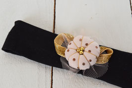 bandeau bébé fille noël fleur japonaise noir et doré à pois
