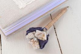 Stylo livre d'or fleur liberty adelajda bleu taupe & strass pour mariage baptême garçon thème champêtre