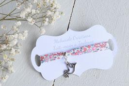 Bracelet liberty Eloise corail colombe argenté pour baptême, communion, confirmation